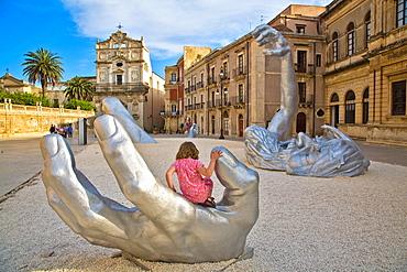 Sculpture, Il Risveglio, artist Seward Johnson, Cathedral square, Siracusa, Sicily, Italy