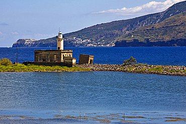 Old saltworks and lighthouse, Lingua, Salina Island, Messina, Italy, Europe