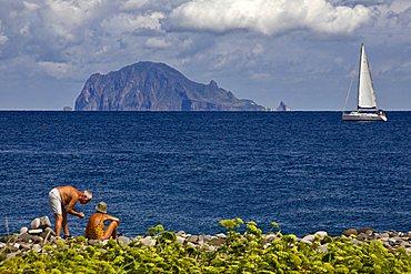 Panarea Island view from Salina Island, Messina, Italy, Europe