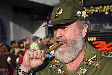 Fidel Castro double at Las Palmas Carnival, Gran Canaria, Canary Islands, Spain, Europe