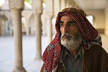 Turkish man on a pilgrimage to the Abrham's cave, Urfa, Turkey, Europe