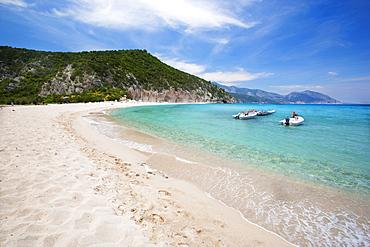 The sandy beach of Cala Luna, Orosei Gulf,  Gennargentu and Orosei Gulf National Park, Sardinia, Italy, Europe