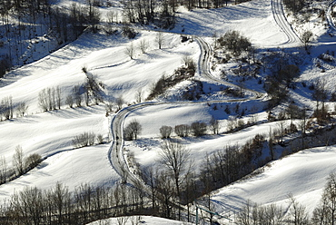 Landscape in winter, Modena Apennines, Emilia-Romagna, Italy