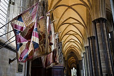 Colors and flags of the 99° Regiment of Duke of Edinburgh, St. Mary's Cathedral, Salisbury, Wiltshire, England, Great Britain