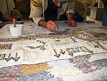 Middle East, Jordan, Mosaics, the patient artisanal work of making mosaics