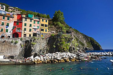 Foreshortenig, Riomaggiore, Cinque Terre, UNESCO World Heritage Site, Ligury, Italy, Europe