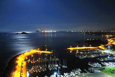 Nightview, Santa Maria Navarrese touristic  harbour, Ogliastra, Sardinia, Italy, Europe