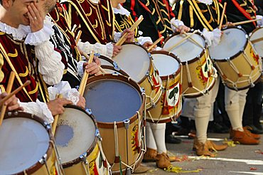Drummers, Sartiglia feast, Oristano, Sardinia, Italy, Europe