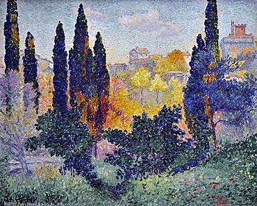 Cypresses at Cagnes, Henri-Edmond Cross, Musee d'Orsay, Paris, Ile-de-France, France, Europe