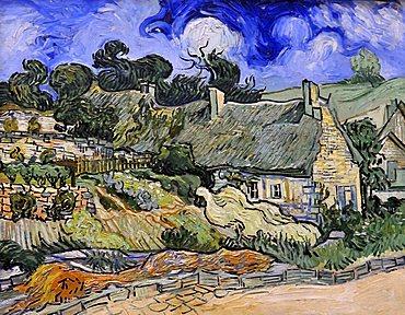 Thatched Cottages at Cordeville, Vincent Van Gogh, Musee d'Orsay, Paris, Ile-de-France, France, Europe