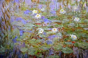 Detail of Blue Water Lilies, Claude Monet, Musee d'Orsay, Paris, Ile-de-France, France, Europe