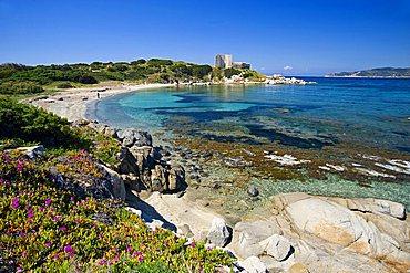 Fortezza vecchia, harbor's beach, Villasimius, south Sardinia, Italy, Europe