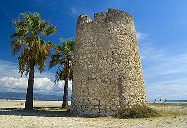 Torre di Mezza Spiaggia, Poetto, Cagliari, Sardinia, Italy