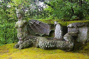 Winged Erinye, Parco dei Mostri monumental complex, Bomarzo, Lazio, Italy