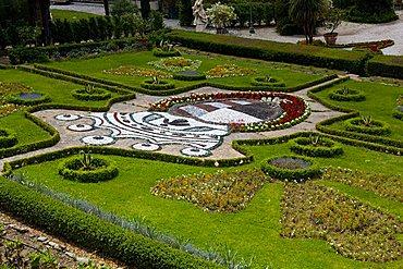 Flowerbed in the garden, Vila Garzoni, Collodi, Tuscany, Italy