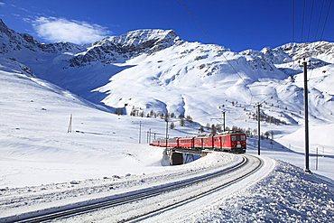 Bernina Express near Bernina Pass, Engadin, canton of Graubvºnden, Switzerland, Europe