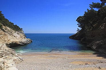 Cala della Pergola, coast between Vieste and Mattinata, Gargano Promontory, Gargano National Park, Puglia, Italy