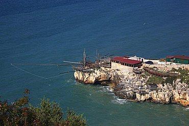 A trabucco for fishing of Monte Pucci, Peschici, Gargano Promontory, Gargano National Park, Puglia, Italy