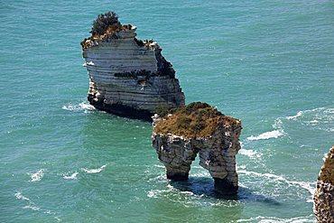 Stacks, Zagare Bay, Coast between Mattinata and Vieste, Gargano Promontory, Gargano National Park, Puglia, Italy