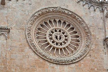 Rose window, Cathedral of Santa Maria dell'Assunzione, historic centre, Ostuni, Puglia, Italy