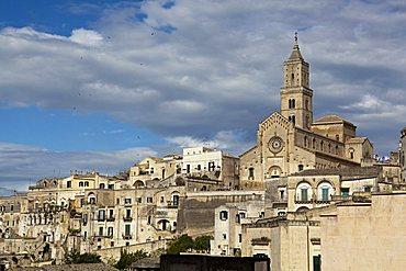 Sassi of Matera, la Civita and Sasso Barisano with the  Cathedral, Matera, Basilicata, Italy