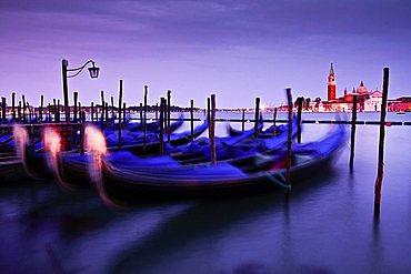 Gondole and San Giorgio island, Venice, Italy, Europe