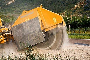 Road costruction site,  Sdruzzina` di Ala, Trentino Alto Adige, Italy, Europe