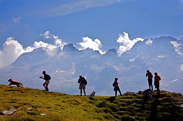 Monte Spinale near Madonna di Campiglio in the background the Dolomiti di Brenta dolomites, Trentino Alto Adige, Italy, Europe