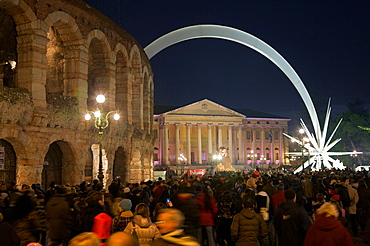Christmas light, Piazza Braà, Verona, Veneto, Italy