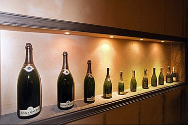 Contratto underground wine cathedral in Canelli,a collection of vintage bottles, Asti, Piedmont, Italy, Europe