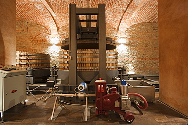 Gancia underground wine cathedral in Canelli, wine press double unit,  Asti, Piedmont, Italy, Europe