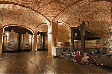 Gancia underground wine cathedral in Canelli, wine press double unit and thanks for traditional spumante production, Asti, Piedmont, Italy, Europe