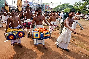 Musicians of the Chenda Melam rhythmic orchestra, Thrissur Pooram festival, Thrissur, Kerala, India, Asia
