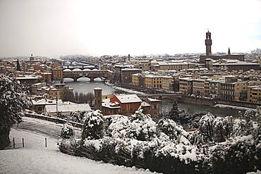 Snow in Florence, Tuscany, Italy, Europe