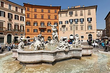 Neptune fountain, Piazza Navona square, Rome, Lazio, Italy, Europe
