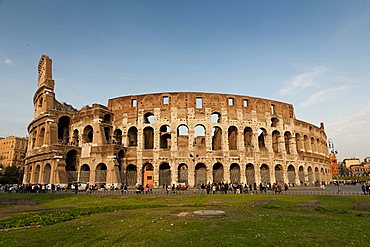 The exterior of the Colosseum in Rome, Lazio, Italy, Europe, Europe