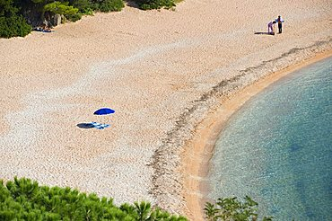 Terrace overlooking the sea, Spaggia Centrale, Cala Gonone, Dorgali, Provincia di Nuoro, Sardinia, Italy