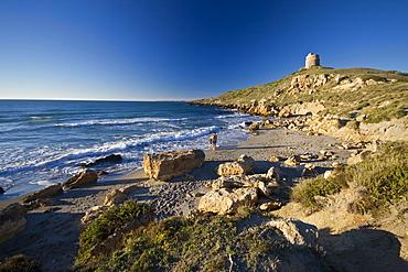 Beach and the tower, San Giovanni di Sinis, Sinis, Cabras, Oristano District, Sardinia, Italy, Europe