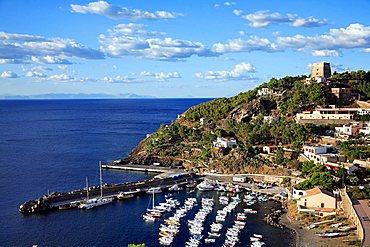 Harbour seen by Punta Falconiera, Ustica, Ustica island, Sicily, Italy