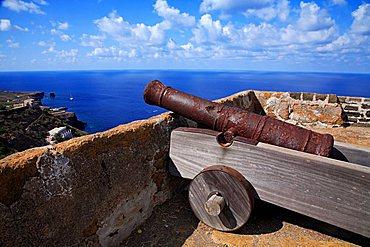 Cannon, Rocca della Falconiera, Ustica island, Sicily, Italy