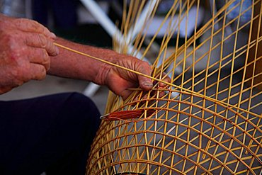 Fisherman make a lobster pot,Gallipoli, Apulia, Italy, Europe