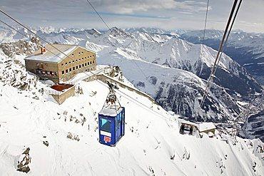 Rigugio Torino hut, Funivia dei Ghiacciai, Monte Bianco, Valle d'Aosta Italy, Europe