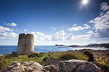 Torre Budello tower, Costa del Sud, Porto Teulada, Teulada (CA), Sardinia, Italy, Europe