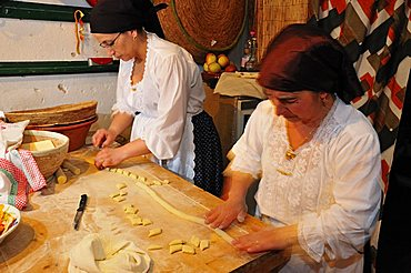 Preparation of a typical pasta, Baunei, Sardinia, Italy, Europe