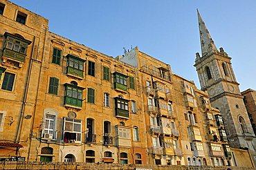 Typical architecture of the city, Valletta, Malta, Europe