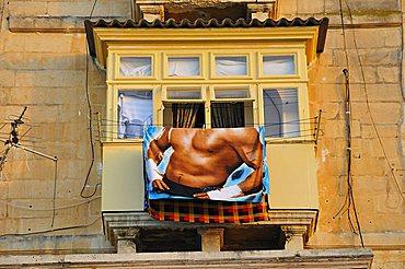 Typical balcony, Valletta, Malta, Europe