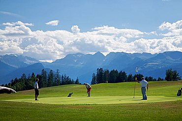 Golf course, Dolomiti Golf Club, in the background Dolomiti di Brenta, Cavareno, Sarnonico plateau, Non valley, Trentino Alto Adige, Italy, Europe