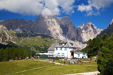 Ciampedie hut, in the background Catinaccio mountain and Torri del Vajolet, Fassa valley, Trentino Alto Adige, Italy, Europe