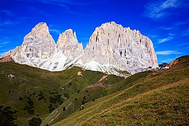 Landscape on Sella pass and view on  Dolomitic group  of  Sasso Lungo, Fassa valley, Trentino Alto Adige, Italy, Europe