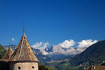 Mareccio castle, in the background the Dolomiti mountains, old town of Bolzano, Trentino Alto Adige, Italy, Europe